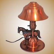 Vintage Copper Horse Table Lamp, Mid Century Western Cowboy