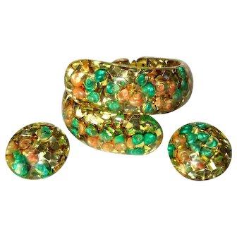 Lucite Confetti Bracelet & Earrings, Gold, Sea Shells, 1950's
