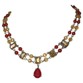 Vintage 1960's Avon of Belleville Necklace, Nina Ricce Victorian Revival, Crystal, Rhinestone, Bead