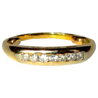 14K Diamond Ring, 7 Stones, YG, Vintage Wedding Band