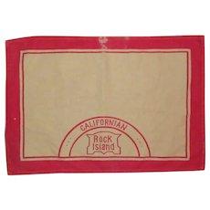 Rock Island Railroad, Californian Cloth Placemat, Authentic, Vintage Memorabilia