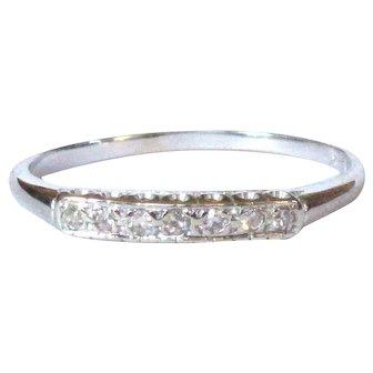 Vintage 14K Diamond Ring / Wedding Band, White Gold