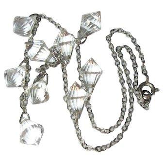 Art Deco Crystal Drops Necklace, Vintage 20's 30's