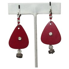 Rhinestone Guitar Pick Earrings, Red, Macasite