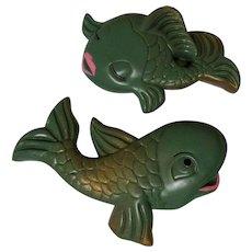 Vintage Chalkware Fish, Miller Studio, He & She, 50's 60's