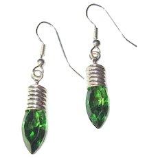 Rhinestone Christmas Light Earrings, Green Bulbs