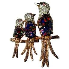 Hobe Rhinestone Brooch, Vintage Bird Pin