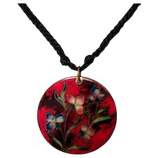 Vintage Champleve Enamel Floral Pendant Necklace, Kuo of Beverly Hills, 80's