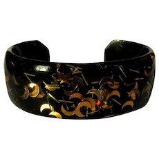 Lucite Confetti Cuff, Vintage 50's Bracelet, Black / Gold, Moons