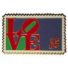 Love Postage Stamp Pin, Robert Indiana, 1973