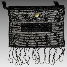 Vintage Steel Beaded Purse, Art Deco 20's Flapper