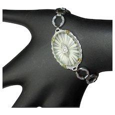 Camphor Glass Bracelet, Art Deco Link, Vintage 1920's