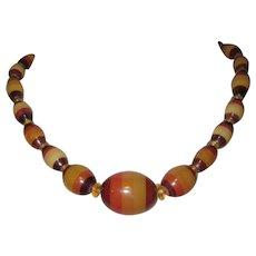 Glass Bead Necklace, Czechoslovakia, Vintage Bohemian Striped Beads