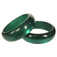 Vintage Moonglow Bangles, Green Lucite, Matched Pair of Bracelets.