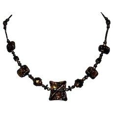 Art Glass & Bead Necklace, Cane Signature, Vintage Artist