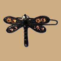 Rhinestone Butterfly Barrette, Vintage Hair Bob