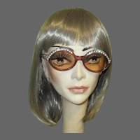 1970's Eyeglass Frames, Rhinestones, Lavender Lucite, France