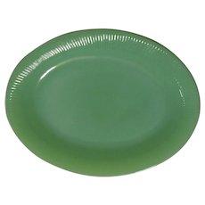 Vintage Fire King Glass Jane Ray Jadite Oval Platter 1950's Jadeite