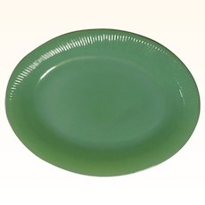 Vintage Fire King Glass Jane Ray Jadite Oval Platter 1950's Jadeite