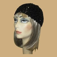 Vintage Sequined Cap / Hat, 60's Flapper Revival