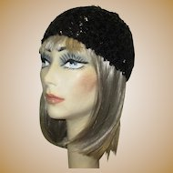 Vintage Sequined Cap / Hat, 60's Flapper Revival