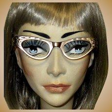 Rhinestone Cat Eye Glasses Frames, Vintage 60's France Lucite, Mid Century