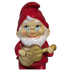 Gnome with Guitar, Vintage Christmas 1950's Japan