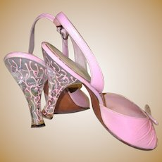 Lucite High Heels, Rhinestones, Pink Leather, 1950's Vintage Open Toe Shoes