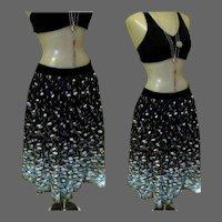 Border Print Skirt, Vintage 50's Floral Cotton