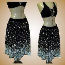 Border Print Skirt, Vintage 50's or 60's Floral Cotton