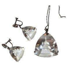 Rock Crystal Necklace & Earrings, Sterling, Japan, 1950's Pagoda Set