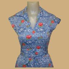 Vintage 70's Dress, Blue Floral Knit, Cap Slevves