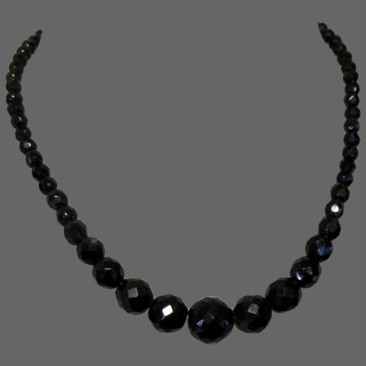 graduated necklace emo mourning Goth necklace vintage Black necklace 1980s 48cm twin strand faceted black bead necklace black necklace