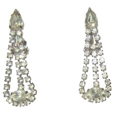 Vintage Rhinestone Earrings, 1950's Drops, Clear Clip Ons