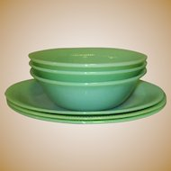 Jane Ray Vegetable Serving Bowl, Jadite Fire King Glass