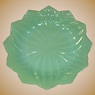 Fire King Jadite Lotus Petal Plate, Vintage Glass