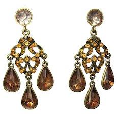 Vintage Rhinestone Earrings, Crystal Drops, 1960's Clips Boho