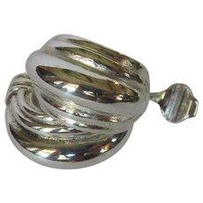 Monet Earrings, Vintage Half Hoops, Silver Clips