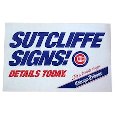 Rick Sutcliffe 1984 Chicago Tribune Poster, Sutcliffe Signs
