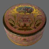 Melba Fleurs Face Powder Tin, 1925, Chicago Cosmetics
