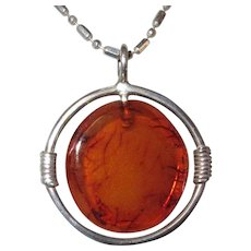 Vintage Baltic Amber Sterling Pendant, 1980's, For Necklace