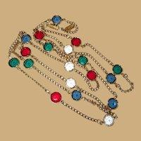 Crystal Station Necklace, Vintage 80's, Gold Toned & Jewel Tones