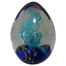 Glass Egg Paper Weight, Blue Swirls in Clear, Vintage