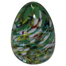 Glass Egg Paperweight, Vintage WV, Swirling Speckles