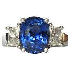 Sapphire & Diamond Ring,  Platinum, 3 1/2 ct Solitaire, GIA