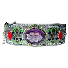Rhodium Filigree Bracelet, Paste & Carved Art Glass & Enamel, Art Deco 20's Hinged