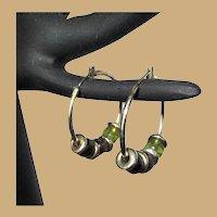 Vintage Hoop Earrings, 80's, Beads, Pierced
