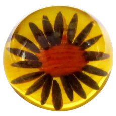 Apple Juice Bakelite Ring, Reverse Carved Sunflower, Vintage Prystal