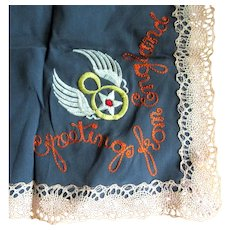 WWII 8th Air Force Handkerchief, Lace & Silk Sweetheart / Mothers Gift