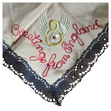 WWII 8th Air Force Handkerchief, Lace & Silk Mother's / Sweetheart Gift